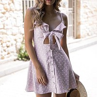 Sexy Backless Casual Dress Spaghetti Strap Beach Summer Dress Dot Bow V Neck Women Dress