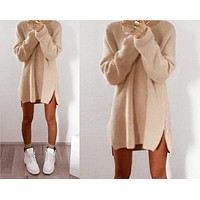 Sweater Casual Zippers One Piece Dress [8348557121]