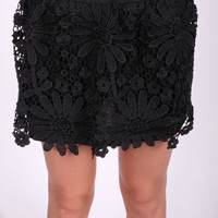 The Summertime Lace Skirt- Black