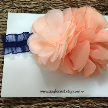 Baby Headband, peach and Navy, Photo Prop, Photography Prop, Baby, Girl, Headband, Hair Accessory, Headband, Flower, Flower Headband