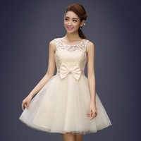Tulle Lace Short Prom Dresses Evening Dress Girl Lovely Club Prom Party Gown Bow Red Champagne