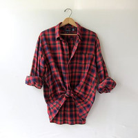 Vintage red Lands End boyfriend flannel / Grunge Shirt