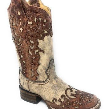 DCCKAB3 Corral Women's Sand/Cognac Laser Overlay Square Toe Boots A2870