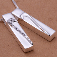 Couple Heart Silver Necklace