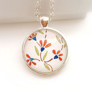 Watercolor Necklace, Small Flower Necklace, Hand Painted Pendant, Boho Jewlery, Floral Necklace for Women, Green and Orange Necklace For Her