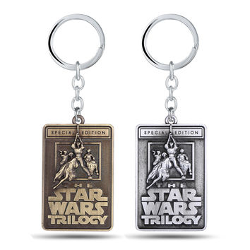 The Star Wars Trilogy Letters Keychains 2 Colors Vintage Square Zinc Alloy Key Chain for Father's Day Gift 6*4cm Accessories