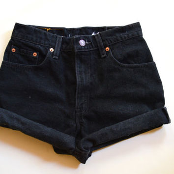 Plain Cuffed High Waisted BLACK Denim Shorts