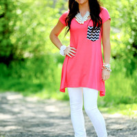 Talk of The Town Chevron Pocket Top Coral