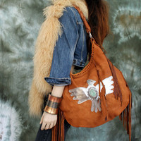Warm brown fringed leather thunderbird tribal tote hobo eagle aztec navajo navaho southwestern  indians agate boho festival sweetsmokebags