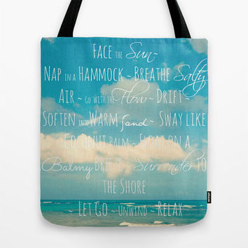 Beach Tote Bag, Beach Photography, Beach Life Quote, Market Tote, Turquoise, Blue, Photo Tote Bag, Grocery Tote Bag, Book Bag