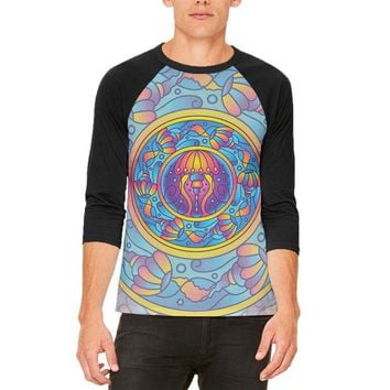 LMFCY8 Mandala Trippy Stained Glass Jellyfish Mens Raglan T Shirt