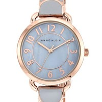 Women's Anne Klein Round Enamel Bangle Watch, 32mm - Grey/ Rose Gold