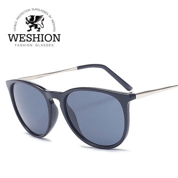 WESHION High Quality Classical Women Star Erika Sunglasses Drive Shopping Glasses UV 400 Protection Retro Men Oculos With Cloth