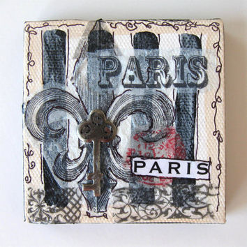 Paris Magnet,  Miniature Mixed Media Greeting Card, Painting, Mini Canvas, Original Miniature painting, Home Decor Fleur de Lis