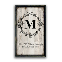 Personalized wooden monogram handmade sign framed out in black distress frame custom signs family signs personalized gifts housewarming gift
