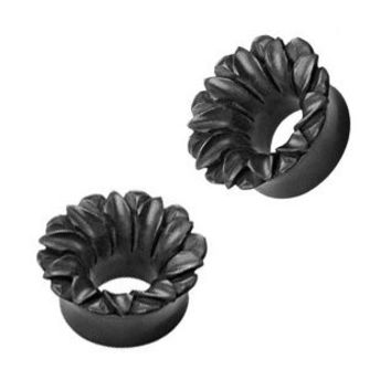Organic Hand Carved Areng Wood Lotus Tunnel Plugs - 0G (8 mm) - Sold as a Pair