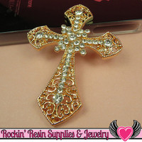Sparkly ORNATE CROSS Gold Tone Alloy with Crystals DIY Cellphone Decoden Cabochon Decoration
