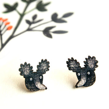Black Dog Earrings - Print On Birch Plywood - Laser Cut - Wooden Jewelry - Great Gift For Dog Lovers