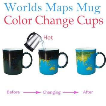 Worlds Maps Color Changing Mugs Earth Night Mug Ceramic Coffee Drink Cup Globe Worlds Maps Creative Gifts Blue Ocean Magic Mugs