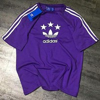 Adidas New Fashion Women Men Comfortable Clover Star Short Sleeve Three Stripe T-Shirt Pullover Top Purple I-AA-XDD