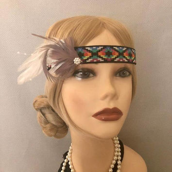1920s Art Deco Style Multi-Color Feather Beaded Elastic Headpiece Headband 20s Gatsby Flapper Hair Band Pearl Accent Headdress (708)