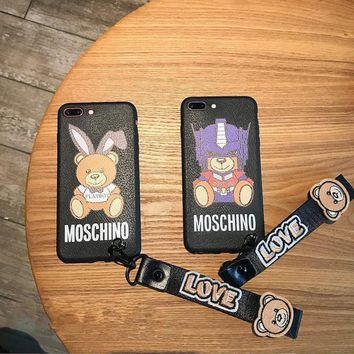 Moschino Couple Cute Cartoon Letter Bear Cub Print iPhoneX/8/6S Soft Silica Gel Phone Case iPhone7 Plus Lanyard Phone Shell