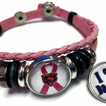 Breast Cancer Awareness NFL Chicago Bears Pink Leather Bracelet W/2 Snap Jewelry Charms New Item