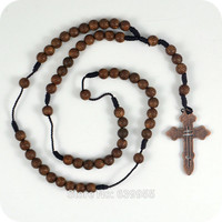 Dark Brown Rosary Beads Orthodox Cross Alloy Pendant Necklace Fashion Religious jewelry