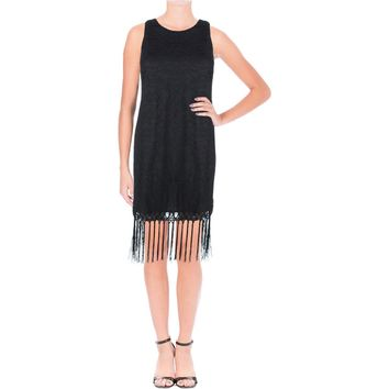 Lush Womens Lace Fringe Cocktail Dress