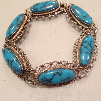 "Turquoise Sterling Bracelet 7"" Silver Blue Oval Filigree Stamped 925 Mexico 20 Grams Vintage Jewelry Southwestern Tribal Stone Gift Mexican"