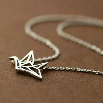 womens unique silverpaper crane necklace gift 68