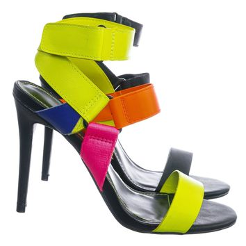 Dashing32 Sporty Color Block Sandal - Women Hook and Loop Gladiator Straps