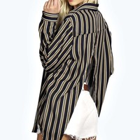 Kyla Open Back Striped Oversized Shirt