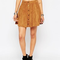 New Look Petite Suedette A-Line Skirt With Button Down Front