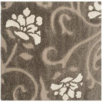 Safavieh Florida Shag Collection SG458-2879 Dark Brown and Smoke Area Rug, 4 feet by 6 feet (4' x 6')