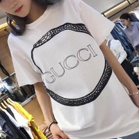 Gucci Summer Snake Letter Print Round Collar Short Sleeves T-Shirt Pullover Top I