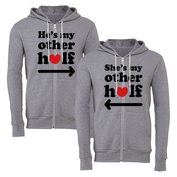 he's my other half she is my other half matching couple zipper hoodie