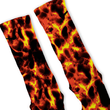 The Floor Is Lava Custom Nike Elite Socks