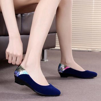 Spring and autumn beijing cotton-made shoes women's shoes dance casual shoes flat heel black mother shoes