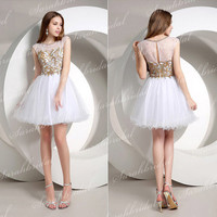 Tulle Cap Sleeve Wedding Prom Military Ball Gown Mini Cocktail Short Dress