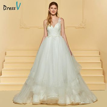 Dressv Ivory Long Wedding Dress Scoop Neck Sleeveless Ball Gown Appliques Lace Button Tulle Sweep Train Custom Wedding Dress