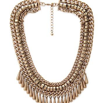 FOREVER 21 Triple Chain Teardrop Choker Burnished Gold One