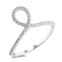 Sterling Silver CZ Simulated Diamond Teardrop Swirl Ring 12MM