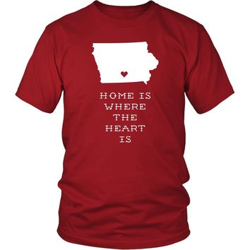 State T Shirt - Iowa Home is Where the Heart is