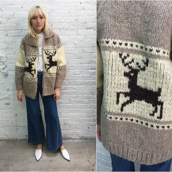 vintage cowichan sweater / shawl collar cream cowichan with reindeers / chunky oversize cardigan