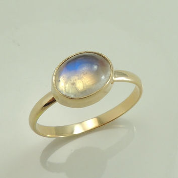 Moonstone Ring Solid 14k Gold, Blue Flash Moonstone Ring, Moonstone Engagement Ring, Recycled 14k Gold, Eco Friendly, Simple Moonstone Ring