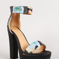 Shoe Republic Floral Lug Sole Platform Heel