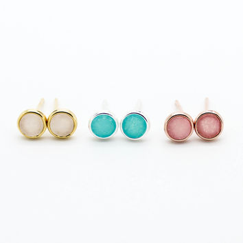 Mini round stone earrings
