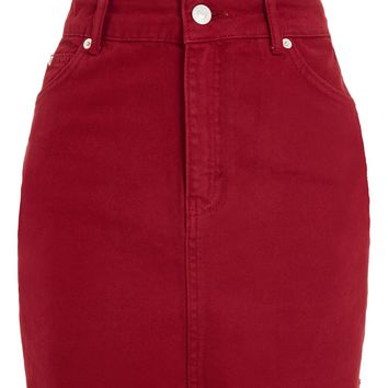 MOTO Red Denim Mini Skirt