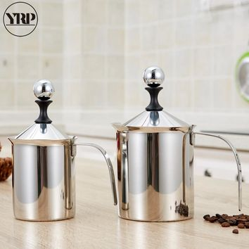 YRP Stainless Steel Milk Jugs Frother Creamer Foam Cappuccino 400/800ml Coffee Double Mesh Froth Screen Kitchen Tools